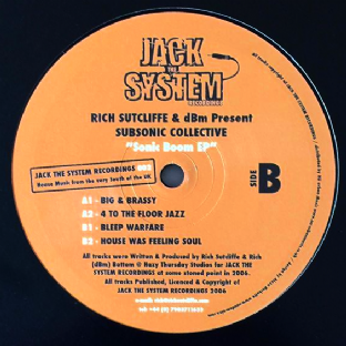"Rich Sutcliffe & DBM Present Subsonic Collective - Sonic Boom EP (12"") (EX+/EX)"